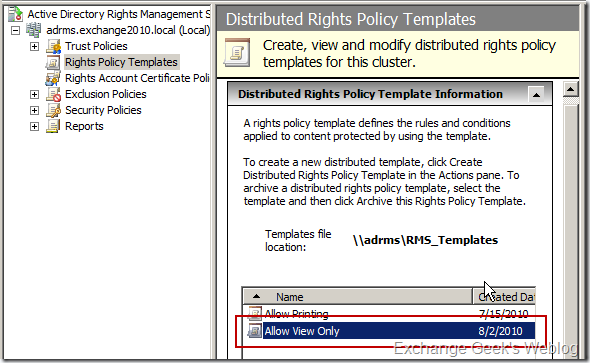 deploy this template to the clients there are few more steps to be configured and are beautifully explained in technet article configuring the ad rms